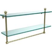Mambo Collection 22'' Double Glass Shelf w/Towel Bar, Premium Finish, Satin Brass