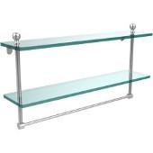 Mambo Collection 22'' Double Glass Shelf w/Towel Bar, Premium Finish, Satin Chrome
