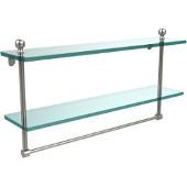 Mambo Collection 22'' Double Glass Shelf w/Towel Bar, Premium Finish, Satin Nickel