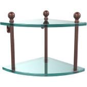 Mambo Collection Double Corner Glass Shelf, Premium Finish, Antique Copper