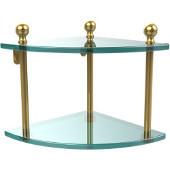 Mambo Collection 2 Tier Corner Glass Shelf, Unlacquered Brass