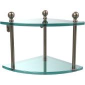 Mambo Collection Double Corner Glass Shelf, Premium Finish, Antique Pewter