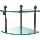 Mambo Collection Double Corner Glass Shelf, Premium Finish, Venetian Bronze
