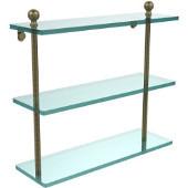 Mambo Collection 16'' Triple Glass Shelf, Premium Finish, Antique Brass