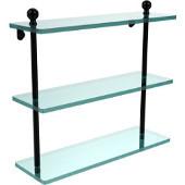 Mambo Collection 16 Inch Triple Tiered Glass Shelf, Matte Black