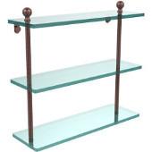 Mambo Collection 16'' Triple Glass Shelf, Premium Finish, Antique Copper