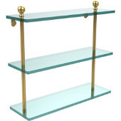 Mambo Collection 16 Inch Triple Tiered Glass Shelf, Unlacquered Brass