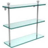 Mambo Collection 16'' Triple Glass Shelf, Premium Finish, Satin Chrome