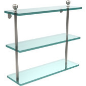 Mambo Collection 16'' Triple Glass Shelf, Premium Finish, Satin Nickel