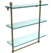 Mambo Collection 16 Inch Triple Tiered Glass Shelf with Integrated Towel Bar, Antique Brass