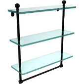 Mambo Collection 16 Inch Triple Tiered Glass Shelf with Integrated Towel Bar, Matte Black