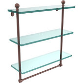 Mambo Collection 16 Inch Triple Tiered Glass Shelf with Integrated Towel Bar, Antique Copper