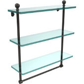 Mambo Collection 16 Inch Triple Tiered Glass Shelf with Integrated Towel Bar, Oil Rubbed Bronze