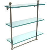 Mambo Collection 16 Inch Triple Tiered Glass Shelf with Integrated Towel Bar, Antique Pewter