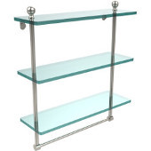 Mambo Collection 16 Inch Triple Tiered Glass Shelf with Integrated Towel Bar, Polished Nickel