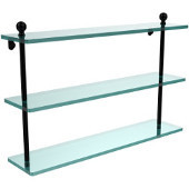 Mambo Collection 22 Inch Triple Tiered Glass Shelf, Matte Black