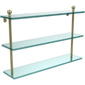 Mambo Collection 22'' Triple Glass Shelf, Premium Finish, Satin Brass