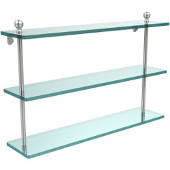 Mambo Collection 22'' Triple Glass Shelf, Premium Finish, Satin Chrome