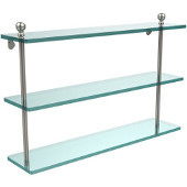 Mambo Collection 22'' Triple Glass Shelf, Premium Finish, Satin Nickel
