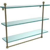 Mambo Collection 22 Inch Triple Tiered Glass Shelf with Integrated Towel Bar, Antique Brass