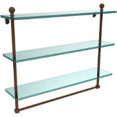 Mambo Collection 22 Inch Triple Tiered Glass Shelf with Integrated Towel Bar, Antique Bronze