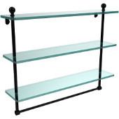 Mambo Collection 22 Inch Triple Tiered Glass Shelf with Integrated Towel Bar, Matte Black