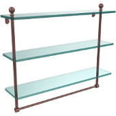 Mambo Collection 22 Inch Triple Tiered Glass Shelf with Integrated Towel Bar, Antique Copper