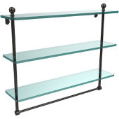 Mambo Collection 22 Inch Triple Tiered Glass Shelf with Integrated Towel Bar, Oil Rubbed Bronze