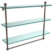 Mambo Collection 22 Inch Triple Tiered Glass Shelf with Integrated Towel Bar, Venetian Bronze