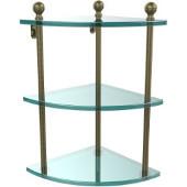 Mambo Collection Triple Corner Glass Shelf, Premium Finish, Antique Brass