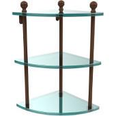 Mambo Collection Triple Corner Glass Shelf, Premium Finish, Rustic Bronze
