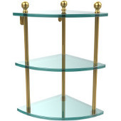 Mambo Collection 3 Tier Corner Glass Shelf, Unlacquered Brass