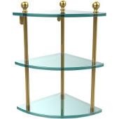 Mambo Collection Triple Corner Glass Shelf, Standard Finish, Polished Brass