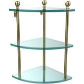 Mambo Collection Triple Corner Glass Shelf, Premium Finish, Satin Brass