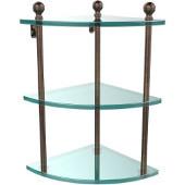 Mambo Collection Triple Corner Glass Shelf, Premium Finish, Venetian Bronze