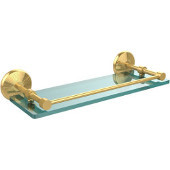 Monte Carlo 16 Inch Tempered Glass Shelf with Gallery Rail, Polished Brass