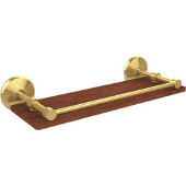Monte Carlo Collection 16 Inch Solid IPE Ironwood Shelf with Gallery Rail, Unlacquered Brass