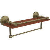 Monte Carlo Collection 16 Inch IPE Ironwood Shelf with Gallery Rail and Towel Bar, Antique Brass