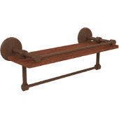 Monte Carlo Collection 16 Inch IPE Ironwood Shelf with Gallery Rail and Towel Bar, Antique Bronze