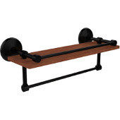 Monte Carlo Collection 16 Inch IPE Ironwood Shelf with Gallery Rail and Towel Bar, Matte Black