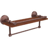 Monte Carlo Collection 16 Inch IPE Ironwood Shelf with Gallery Rail and Towel Bar, Antique Copper