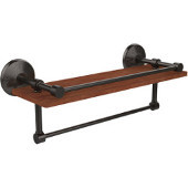 Monte Carlo Collection 16 Inch IPE Ironwood Shelf with Gallery Rail and Towel Bar, Oil Rubbed Bronze