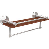 Monte Carlo Collection 16 Inch IPE Ironwood Shelf with Gallery Rail and Towel Bar, Polished Chrome