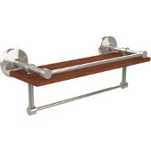 Monte Carlo Collection 16 Inch IPE Ironwood Shelf with Gallery Rail and Towel Bar, Polished Nickel