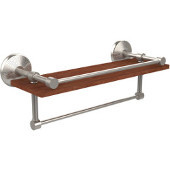 Monte Carlo Collection 16 Inch IPE Ironwood Shelf with Gallery Rail and Towel Bar, Satin Nickel