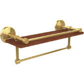 Monte Carlo Collection 16 Inch IPE Ironwood Shelf with Gallery Rail and Towel Bar, Unlacquered Brass