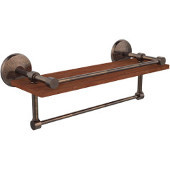 Monte Carlo Collection 16 Inch IPE Ironwood Shelf with Gallery Rail and Towel Bar, Venetian Bronze