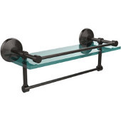 16 Inch Gallery Glass Shelf with Towel Bar, Oil Rubbed Bronze