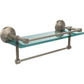 16 Inch Gallery Glass Shelf with Towel Bar, Antique Pewter