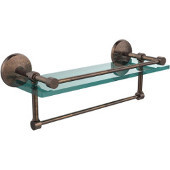 16 Inch Gallery Glass Shelf with Towel Bar, Venetian Bronze